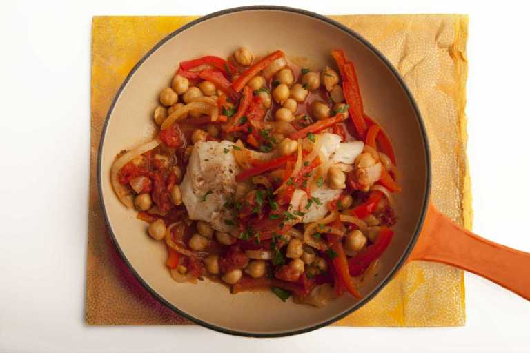 Spanish-Style Cod with Chickpeas & Peppers Recipe Image