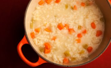 arborio rice, carrots, celerey, fava beans- Arborio Rice & Vegetable Soup- anti-cancer recipes- cook for your life