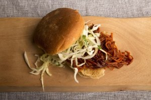 """BBQ """"Pulled"""" Carrot Sandwich Recipe Image"""
