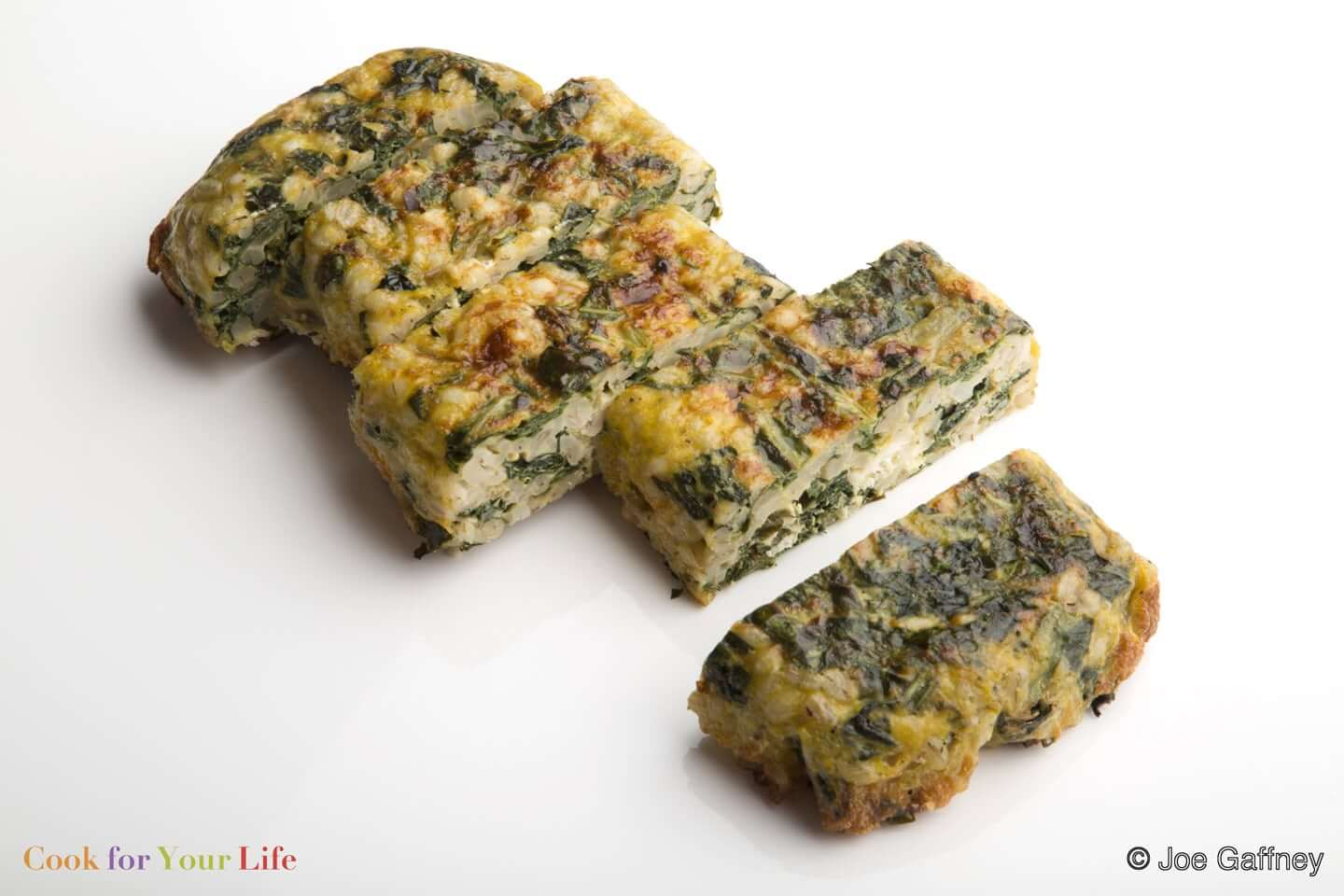 barley, kale, eggs, garlic, goat cheese Barley & Kale Cake- cook for your life- anti-cancer recipes