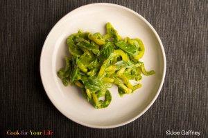 Bell Pepper 'Pasta' With Avocado Spinach Pesto Recipe Image