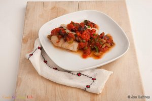 Broiled Cod with Puttanesca Sauce Recipe Image