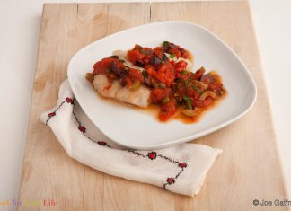 Broiled Cod with Puttanesca Sauce - Bacalao a la Parrilla con Salsa Putanesca - Cook for Your Life- anti-cancer recipes