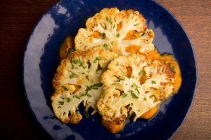Roasted Cauliflower Steaks with Sweet & Sour Mustard Sauce Recipe Image