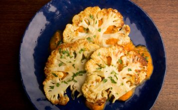 Roasted Cauliflower Steaks with Tangy Sweet Potato Mustard- anti-cancer recipes- cook for your life