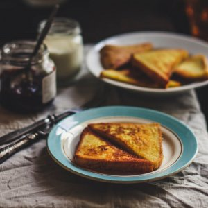 French Toast with Honeyed Yogurt Tahini Sauce Recipe Image