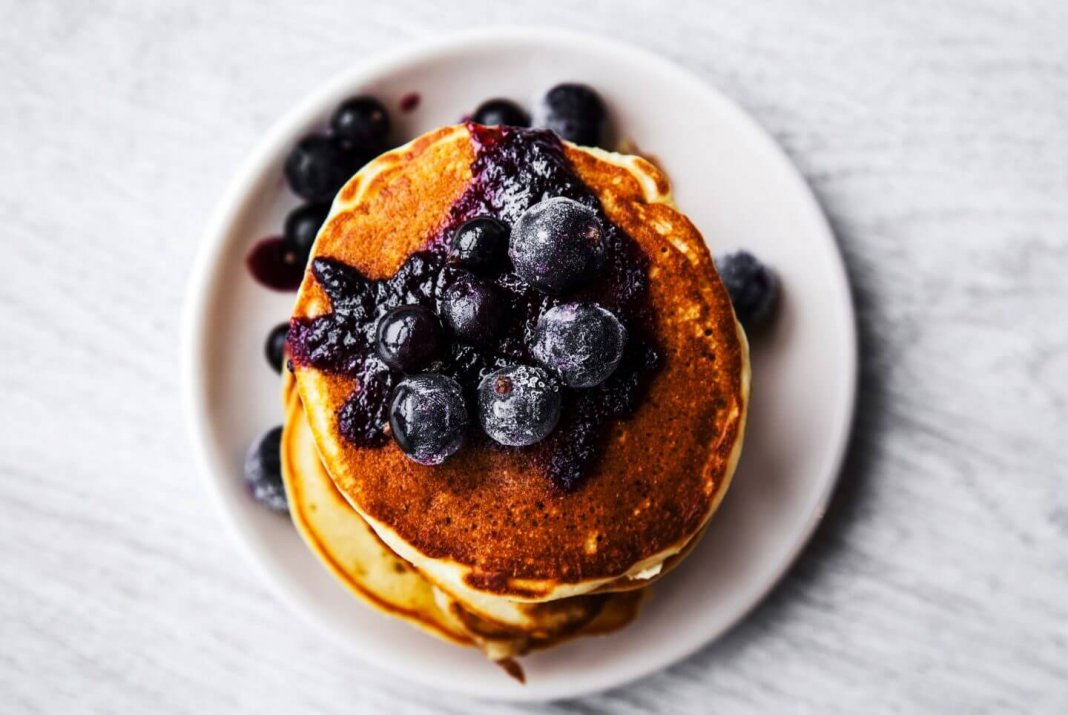 Gluten-Free-Coconut-Pancakes-Blueberry-Sauce-min