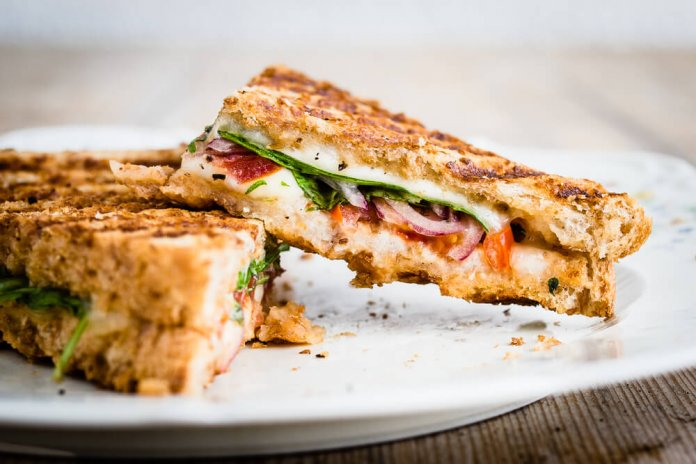 Grilled Cheese Caprese sandwich with tomato and basil- cook for your life- anti-cancer recipes