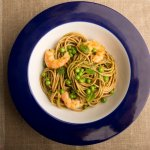 Grilled Shrimp Pasta with Minto Pesto and Peas- anti-cancer recipes- cook for your life