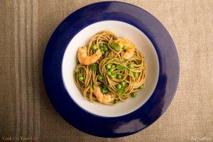 Grilled Shrimp Pasta With Mint Pesto & Peas Recipe Image