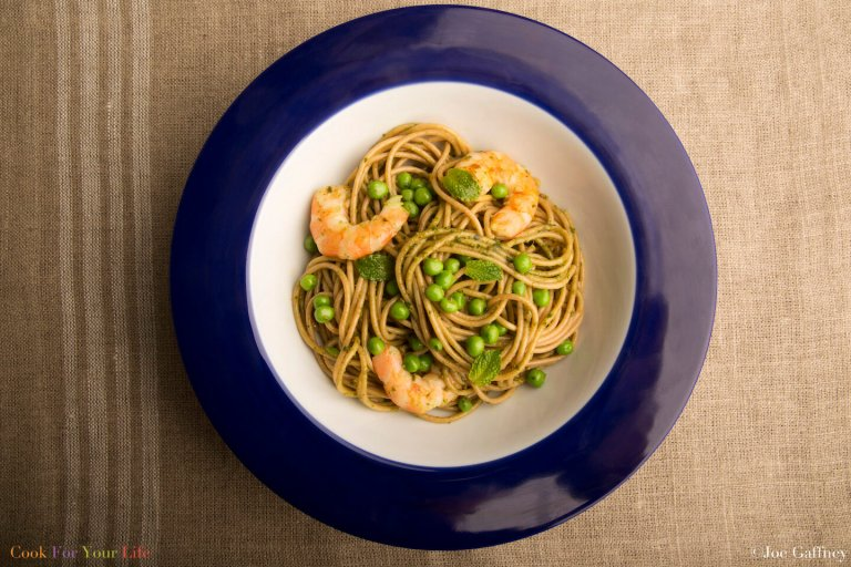 Grilled Shrimp Pasta with Mint Pesto & Peas Recipe Image