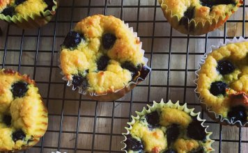 Mini Blueberry Buckle Cakes with gluten-free fresh corn