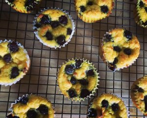 Mini Blueberry Buckle Cakes with Gluten-Free Fresh Corn Recipe Image