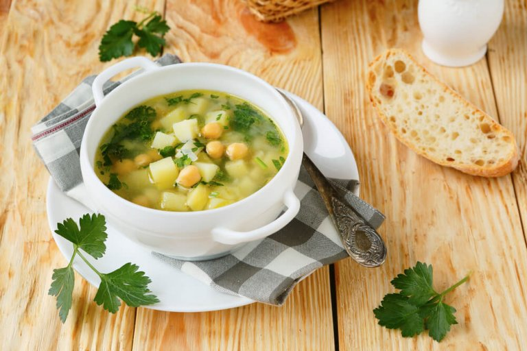Lemony Celery Root & Chickpea Soup Recipe Image