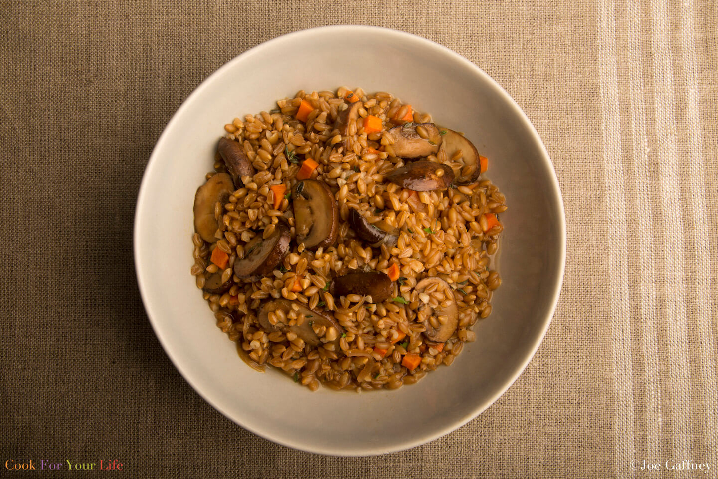 Mushroon Farrotto- anti-cancer recipes- cook for your life