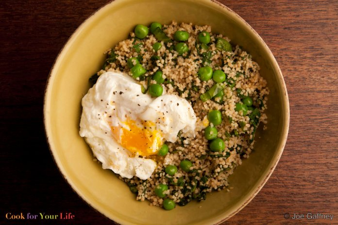 Pea Couscous with Poached Eggs - Cook For Your Life- anti-cancer recipes