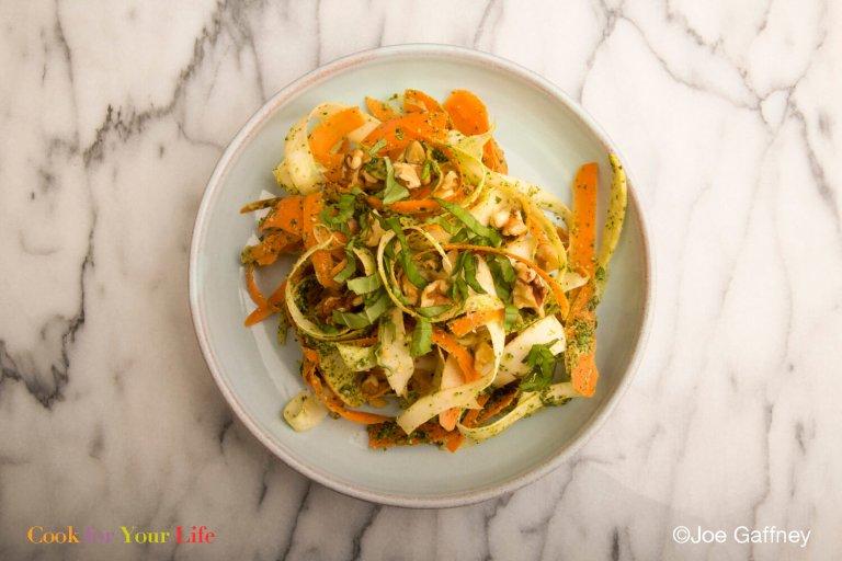 Shredded Parsnip & Carrot Pesto Slaw Recipe Image