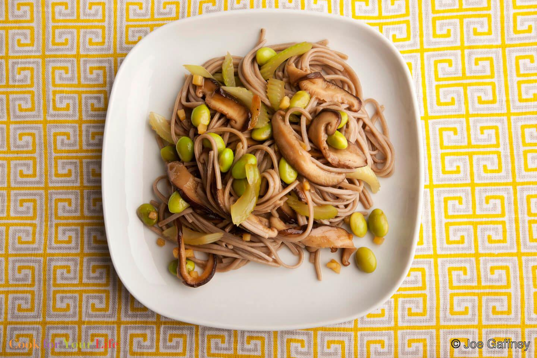 soba, noodles, mushrooms, celery, ginger, lime- Soba Noodles with Mushrooms and Celery- anti-cancer recipes- cook for your life