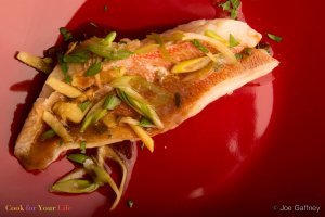 Steamed Snapper with Ginger & Scallions Recipe Image