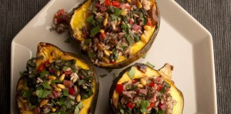 Swiss Chard Rice Stuffed Squash