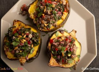 swiss chard & rice stuffed squash- cook for your life- anti-cancer recipes