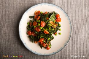 Tangy Braised Kale With Tomato Recipe Image