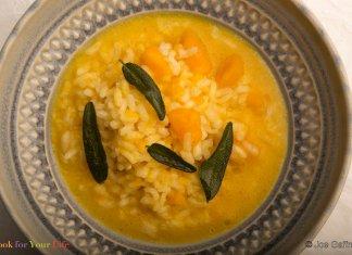 squash, risotto, chicken broth, anti-cancer recipe-Winter Squash Risotto- cook for your life