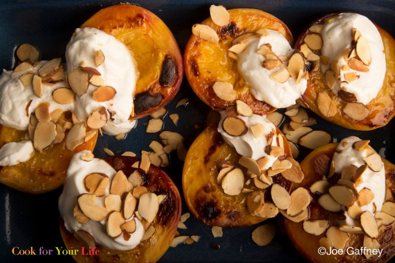 Broiled Peaches with Ginger Yogurt Recipe Image