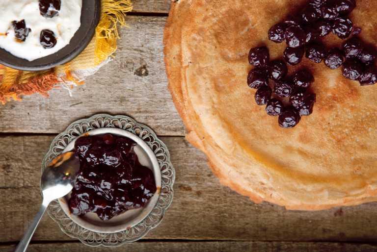 Almond Crepes with Cherries & Yogurt Recipe Image