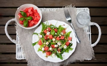 Watermelon, feta, salad, arugula- Watermelon Feta Salad- anti-cancer recipes- cook for your life