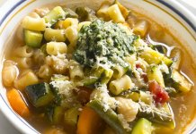 vegetable soup with basil pesto- cook for your life- anti-cancer recipes
