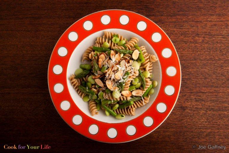 Asparagus, Lima Bean & Almond Pasta Recipe Image