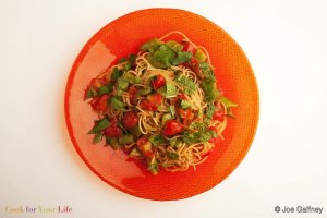Snap Pea Spaghetti with Summer Herbs Recipe Image