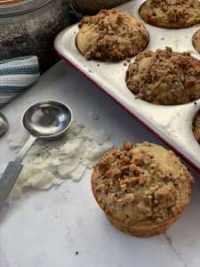 Coconut Halvah Muffins With Sesame Crumble Recipe Image