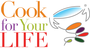 Cook for Your Life logo with cup on transparent background