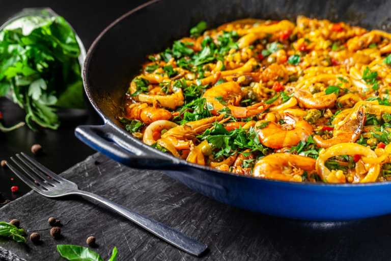 Cauliflower Rice Paella with Shrimp Recipe Image