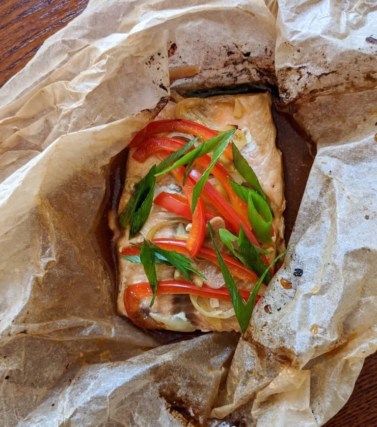 Teriyaki Style Salmon 'En Papillote' Recipe Image